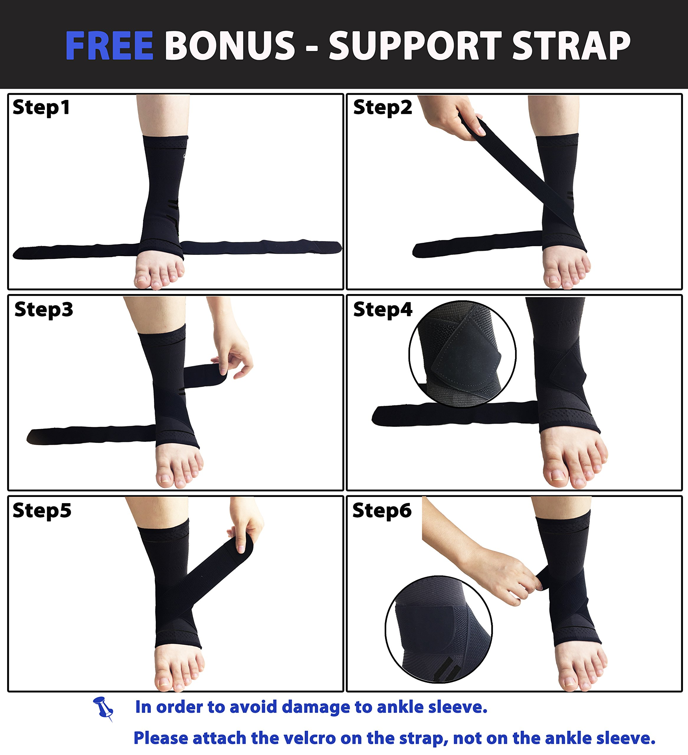 gonicc Professional Foot Sleeve Pair(2 Pcs) with Compression Wrap Support(Large, Black), Breathable, Stabiling Ligaments, Prevent Re-Injury, Boots Circulation, Soothe Achy Feet, Ankle Brace by gonicc (Image #4)