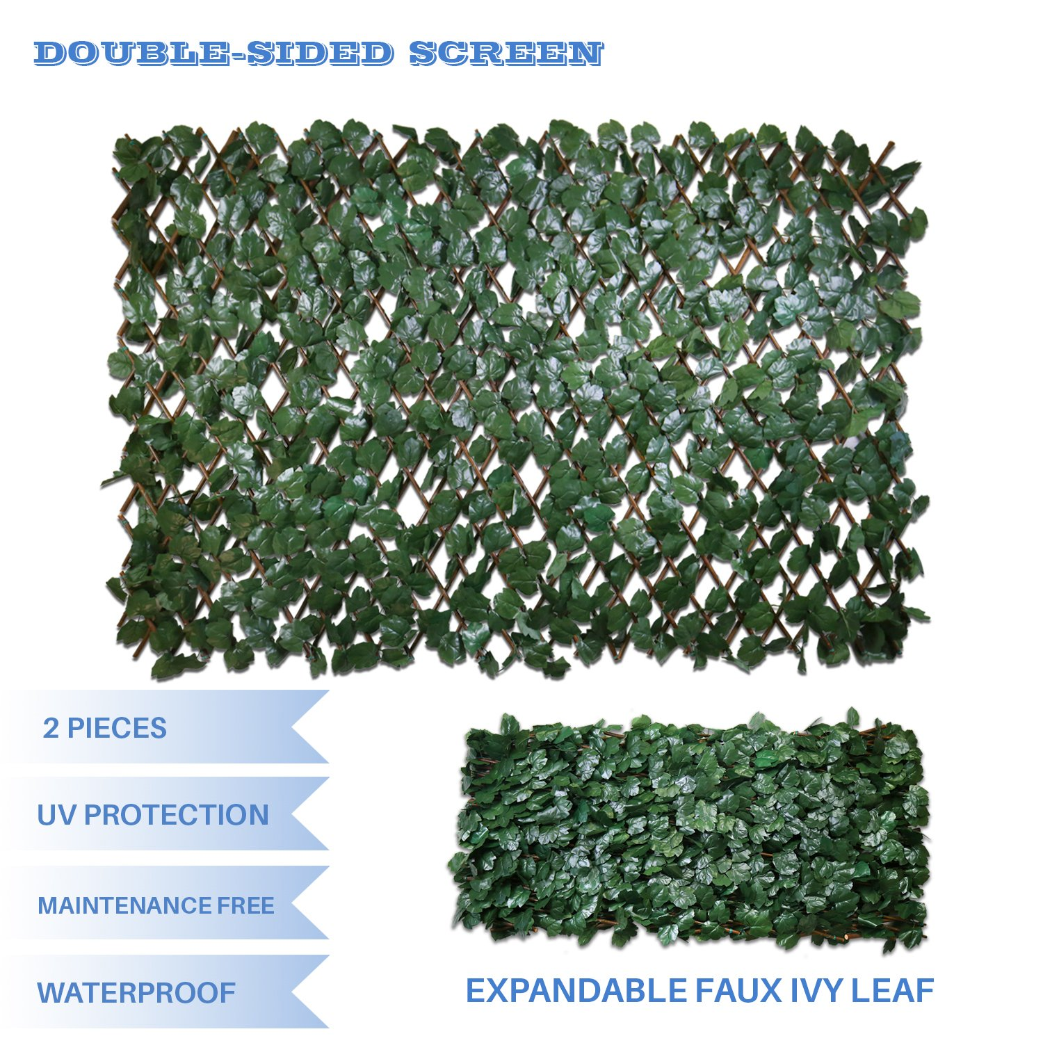 E&K Sunrise Double Side Faux Ivy Privacy Fence Screen with Expand Retractable Panel-Artificial Leaf Vine Hedge Outdoor Decor-Garden Backyard Decoration Panels Fence Cover Set of 2