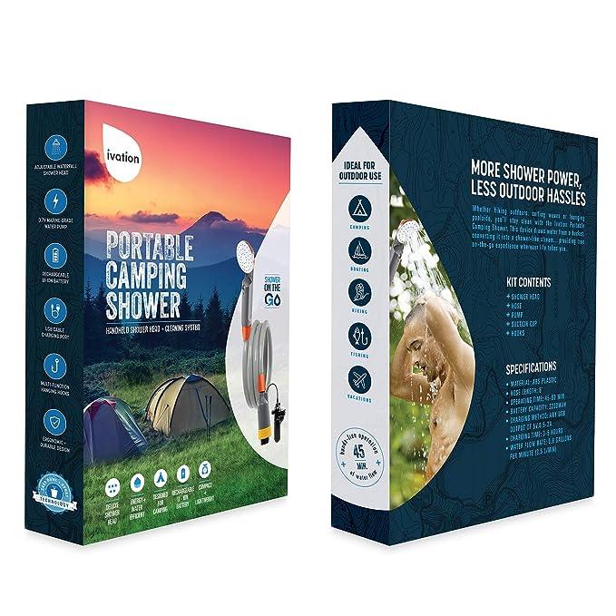 Amazon.com: Ivation - Ducha portátil para acampada | Cabezal ...