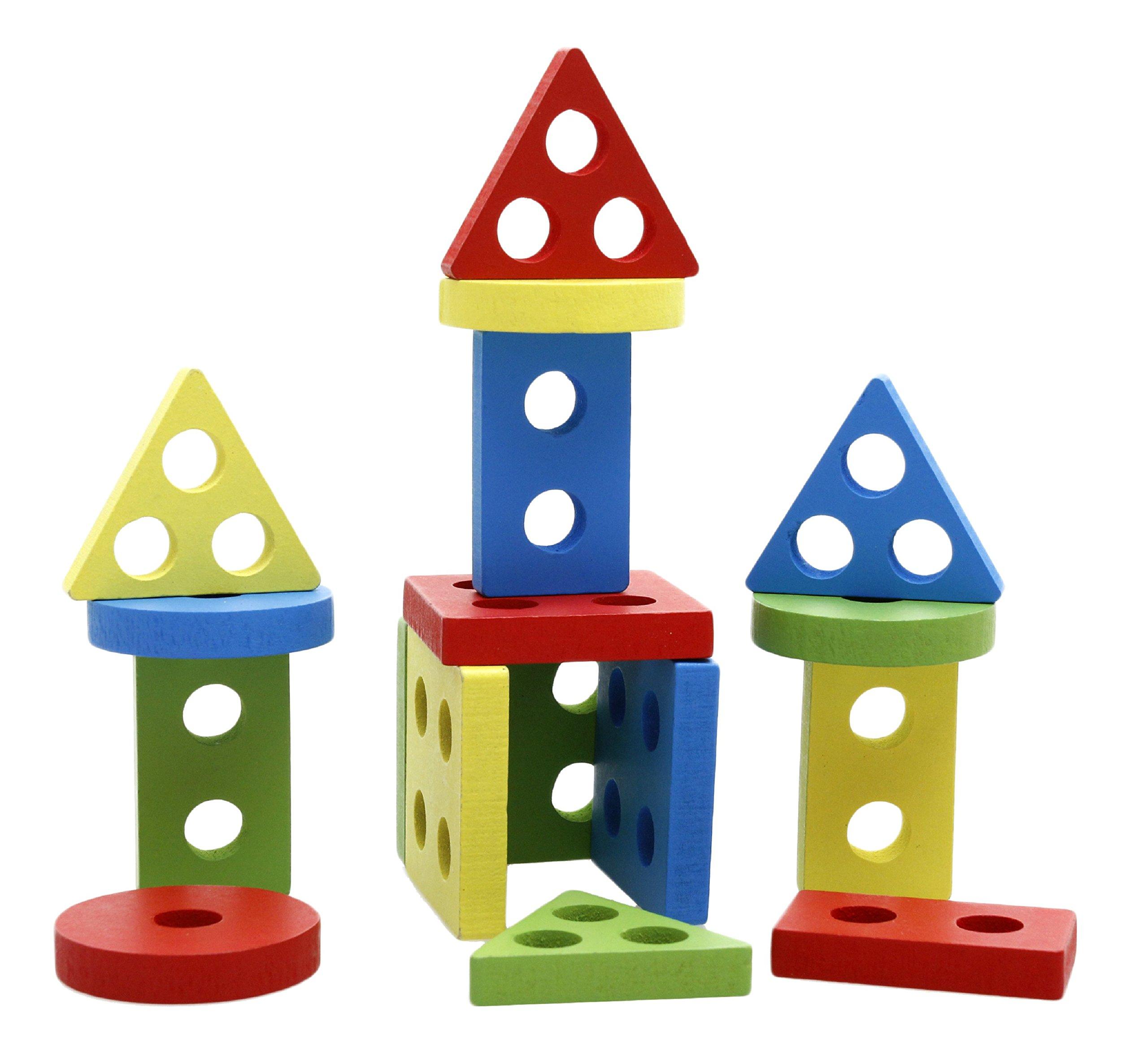 lewo wooden puzzle toddler toys shapes sorter preschool geometric blocks stacking games for kids. Black Bedroom Furniture Sets. Home Design Ideas