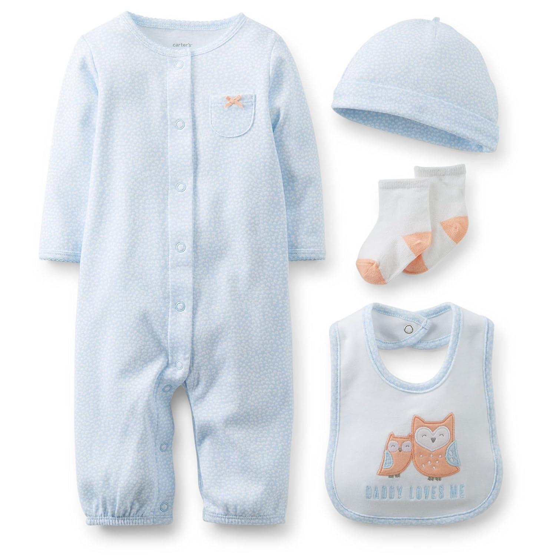 Carters Baby Girls Preemie 4 Piece Layette Set Light Blue