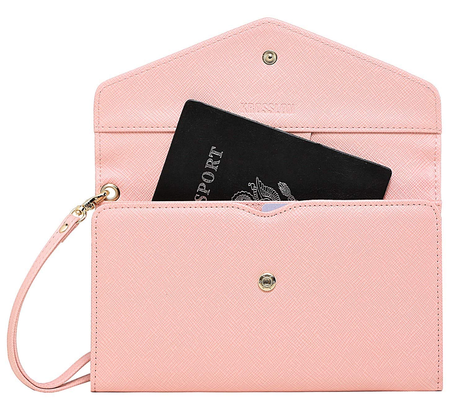 Krosslon Travel Passport Wallet for Women Rfid Wristlet Slim Family Document Holder, 205 Pastel Pink