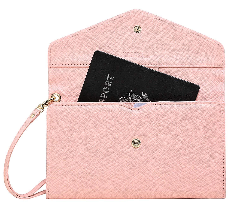 Krosslon Travel Passport Wallet for Women Rfid Wristlet Slim Family Document Holder, 205 Pastel Pink