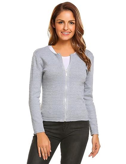 Beyove Damen Cardigan Strickjacke Kurz Strickmantel Pullover Feinstrick  Strick Tops Outwear Hersbt Winter mit Reißverschluss  Amazon.de  Bekleidung 7076d97d9c