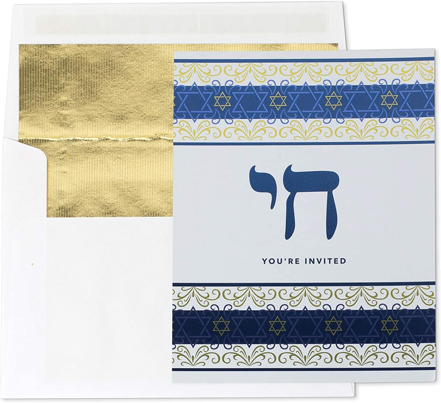 Clearstory Bar/Bat Mitzvah Party Invitation Cards with Gold Foiled Lined Envelopes, Features Star of David and Blue and Gold Foil Design Printed in Front (4.5 x 5 Inches Each, Pack of 8)