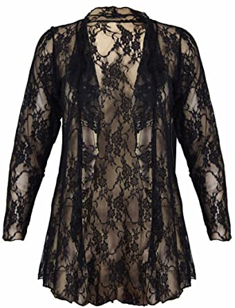 New Womens Plus Size Floral Pattern Lace Cardigan Long Sleeve ...