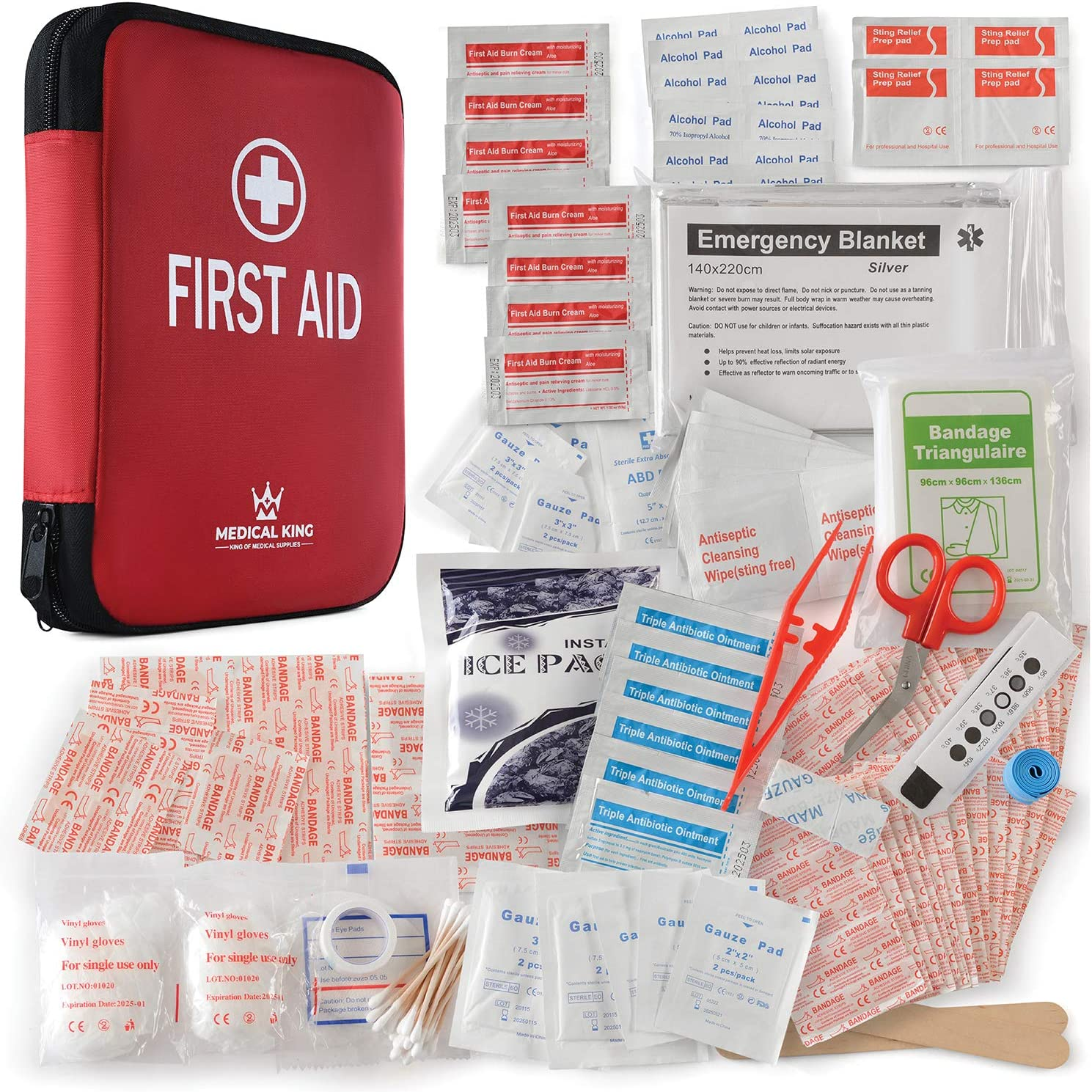 First aid kit 360 pcs, All-Purpose First aid Supplies - Medical kit Protect for Most Injuries - Travel First aid kit, Great for for Home or Work, Plus Supplies for Camping, Outdoor Emergencies & More