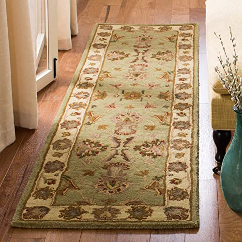 Safavieh Heritage Collection HG343A Handcrafted Traditional Oriental Green and Gold Wool Area Rug 2 x 3