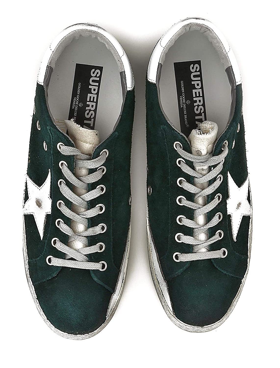 Golden Goose Scarpe Sneakers Uomo Vintage Superstar G32MS590.E78 Verde  Argento N. 39 EU  Amazon.it  Scarpe e borse 99402a8ce3d