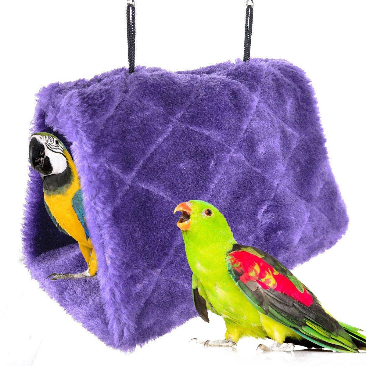 Winter Warm Bird Nest House Shed Hut Hanging Hammock Finch Cage Plush Fluffy Birds Hut Hideaway for Hamster Parrot Macaw Budgies Eclectus Parakeet Cockatiels Cockatoo Lovebird (M, Purple)
