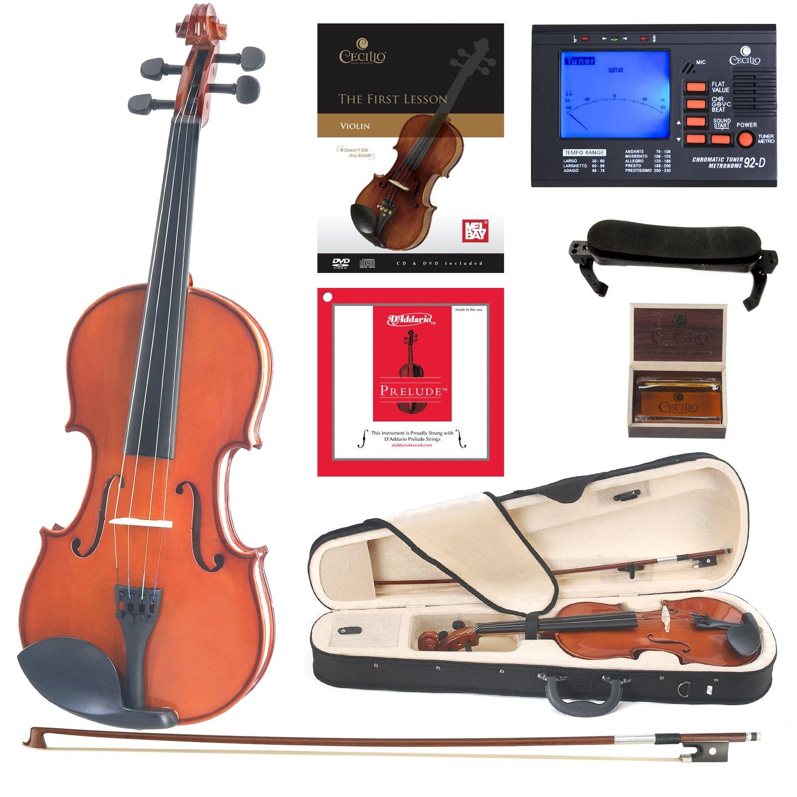 Cecilio CVN-100 Solidwood Student Violin with D'Addario Prelude Strings, Size 4/4 (Full Size) by Cecilio