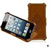 Leicke MANNA iPhone 5/SE gaine Case Housse Schutzgaine - Hardcase Echtes cuir Aufstellbar Nubuk cuir im Vintage Look Retro