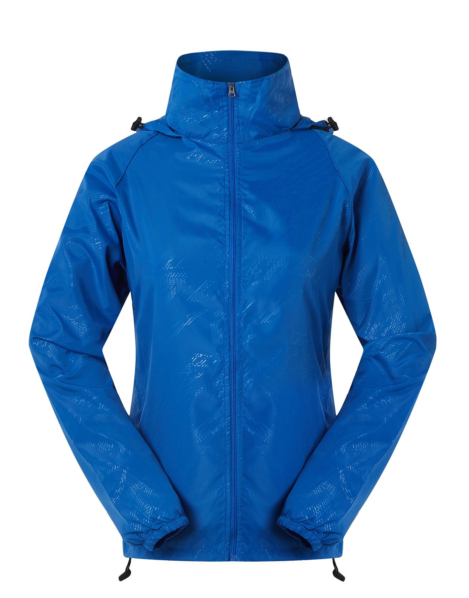 Cheering Spmor Women's Lightweight Jackets Waterproof Windbreaker Jacket UV Protect Running Coat S Blue