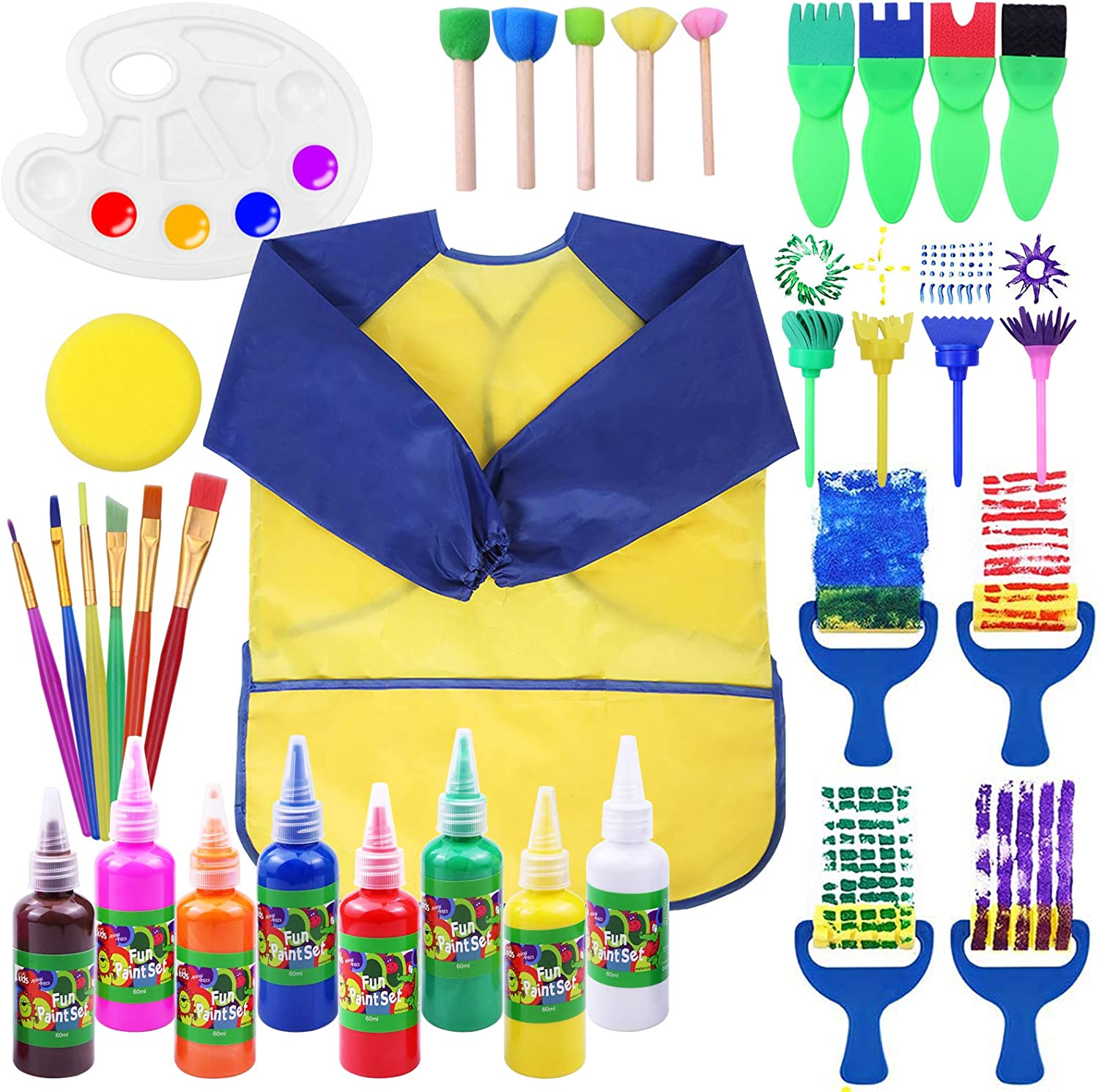 Early Learning Kids Paint Set, Twinbuys Washable Paint Set with Assorted Sponge Paint Brushes for Kids, Including 8 Finger Paint for Toddlers: Arts, Crafts & Sewing