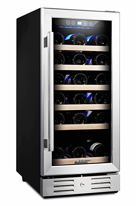 Kalamera 15'' Wine Cooler 30 Bottle Built-in or Freestanding with Stainless  Steel