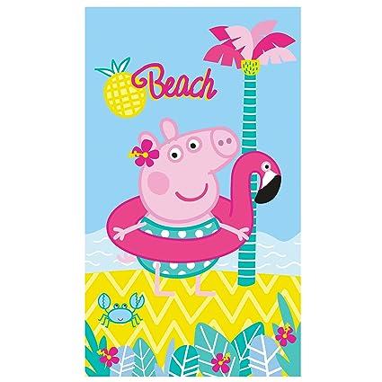 Peppa Pig Summer – Toalla de Playa, Algodón, Azul, 120 x 70 cm