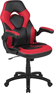 Flash Furniture X10 Gaming Chair Racing Office Ergonomic Computer PC Adjustable Swivel Chair with Flip-up Arms, Red/Black LeatherSoft - CH-00095-RED-GG