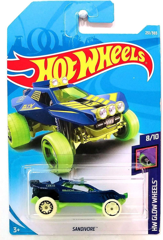 Hot wheels 2018 Sandivore HW Glow Wheels Blue 251//365 Long Card by Mattel