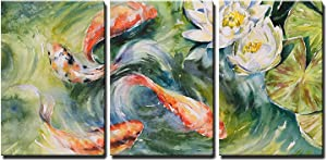 "wall26 - Koi Pond and Lotus Flowers - Canvas Art Wall Art - 16""x24""x3 Panels"
