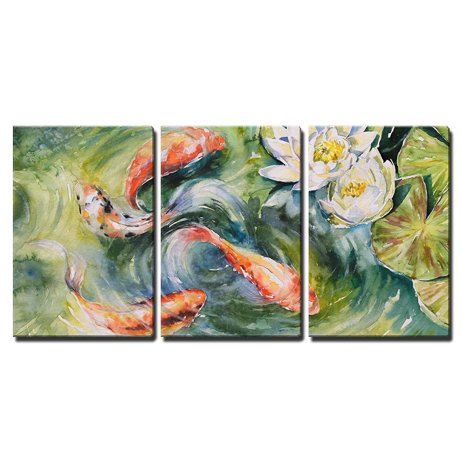 """wall26 3 Piece Canvas Wall Art - Colorful Watercolor of Koi Fishes Swimming in Pond - Home Decor Ready to Hang - 24""""x36"""" in"""