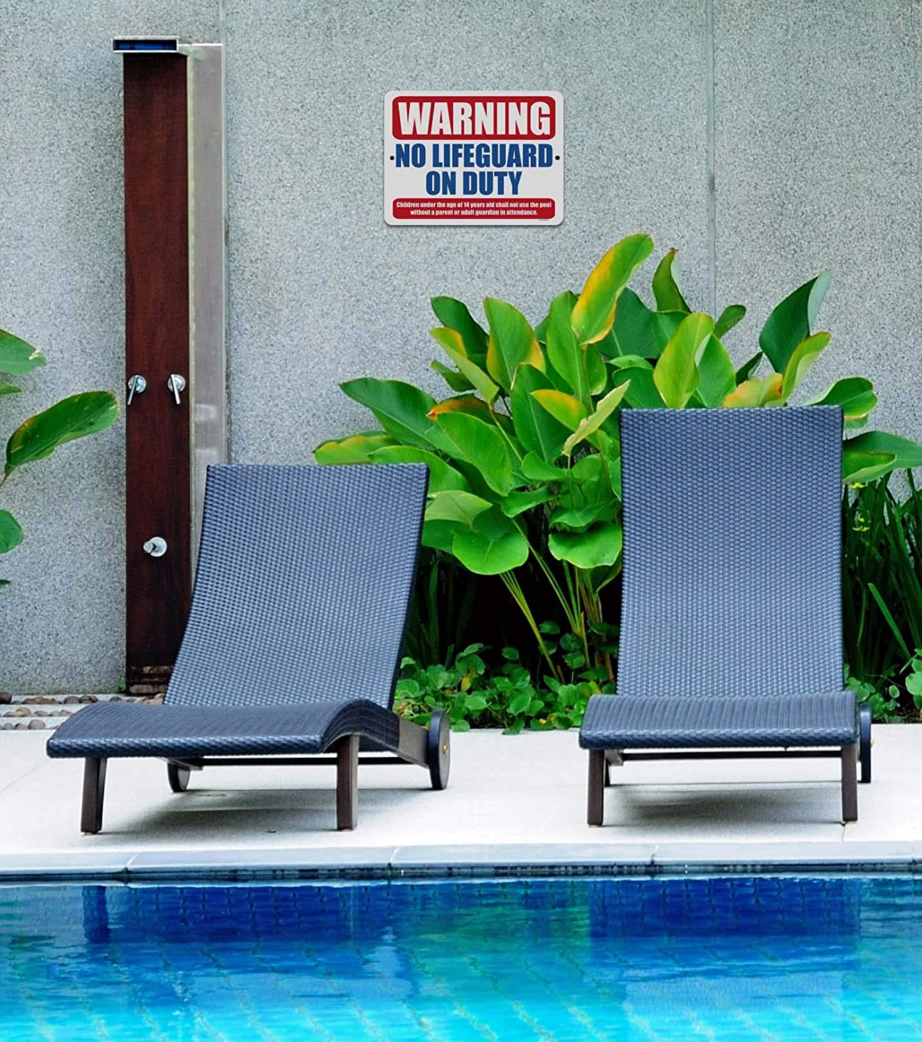 9 x 12 Inch Metal Aluminum Pool Signs Warning No Lifeguard on Duty Honey Dew Gifts Pool Decor Made in USA Swimming Pool Outdoor Signs
