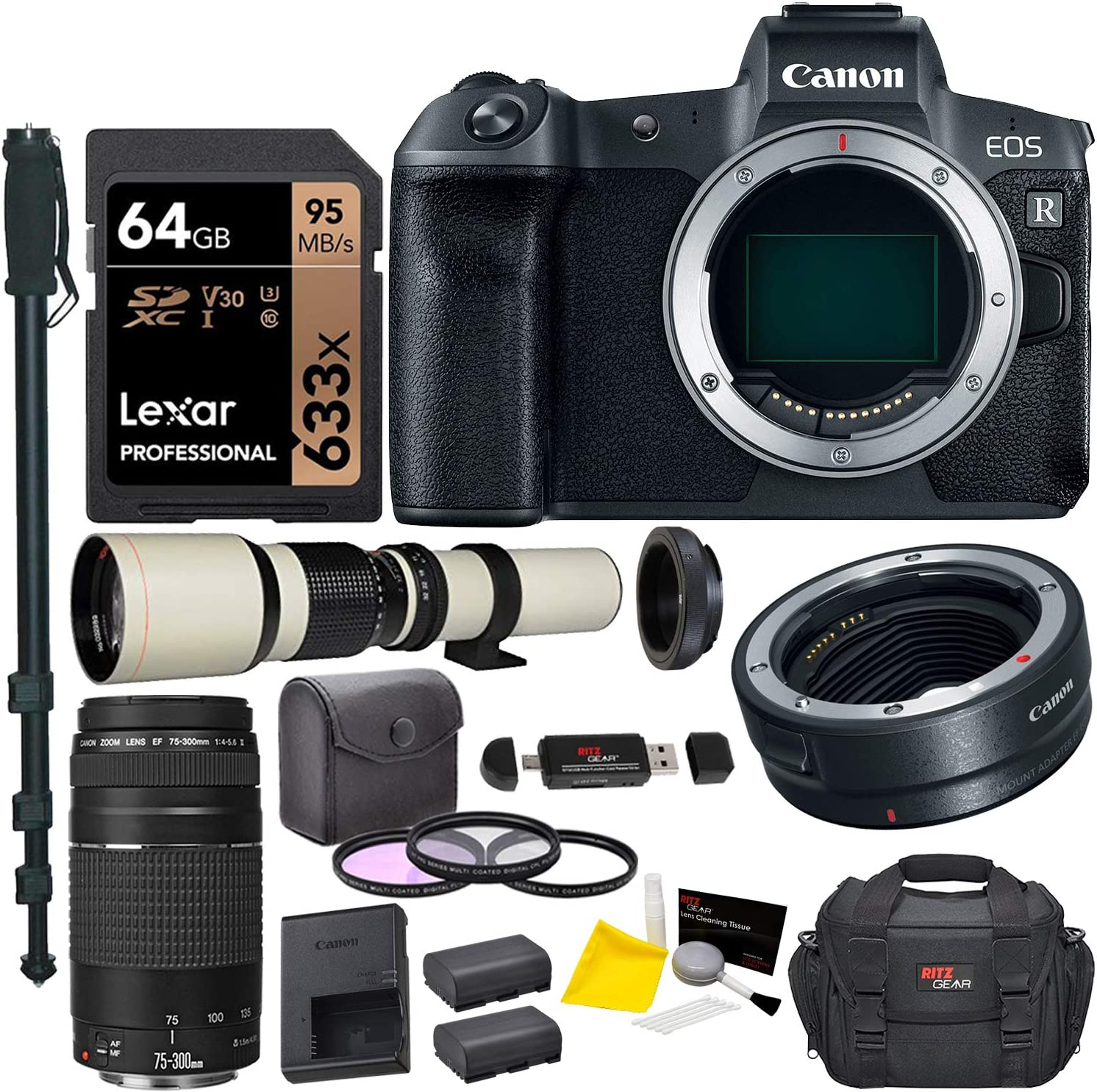Canon EOS R Mirrorless Full Frame Digital Camera Lens Bundle with Canon 75-300mm III, Vivitar 500mm f/8, T-Mount, Canon Mount Adapter, Lexar 64GB U3 Card,