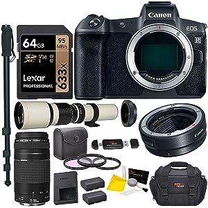 Canon EOS R Mirrorless Full Frame Digital Camera Lens Bundle with Canon 75-300mm III, Vivitar 500mm f/8, T-Mount, Canon Mount Adapter, Lexar 64GB U3 Card,