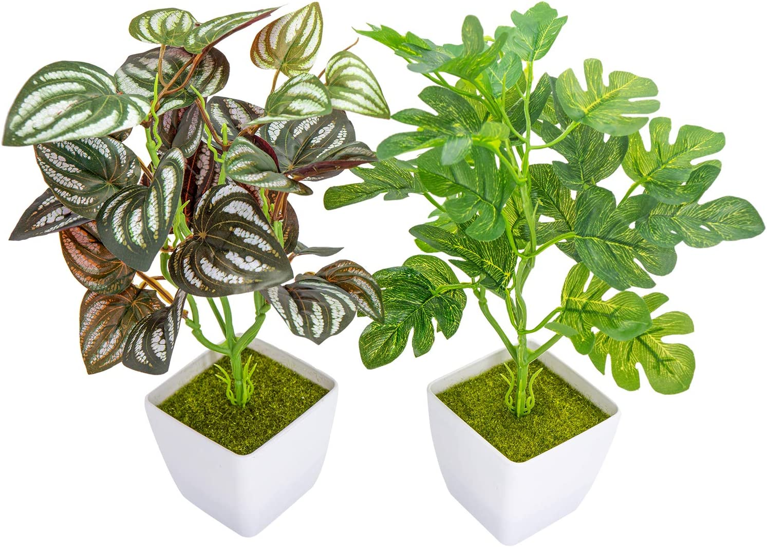 YOLETO 2 Pack Artificial Plants in Pots for Home Decor Indoor Aesthetic, Fall Décor Faux Fake Plant for Desk and Shelf in Bathroom / Bedroom / Living Room / Farmhouse Christmas Decorations