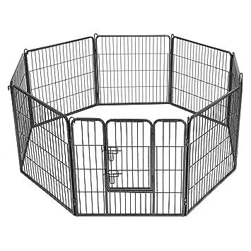 SONGMICS Jaula Valla Para Perros, Corral Plegable Para Cachorros, Conejos y otras Mascotas (