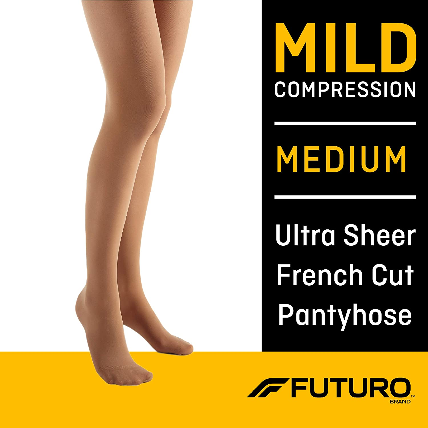 Futuro Pantyhose for Women, Mild Compression, Medium, Nude, Helps Improve Circulation to Help Minimize Swelling