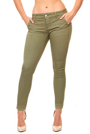 5119bb83f3 Ultra Skinny Day or Evening Soft Stretch Jeans Pants for Women Junior Size  Black, Khaki, Green