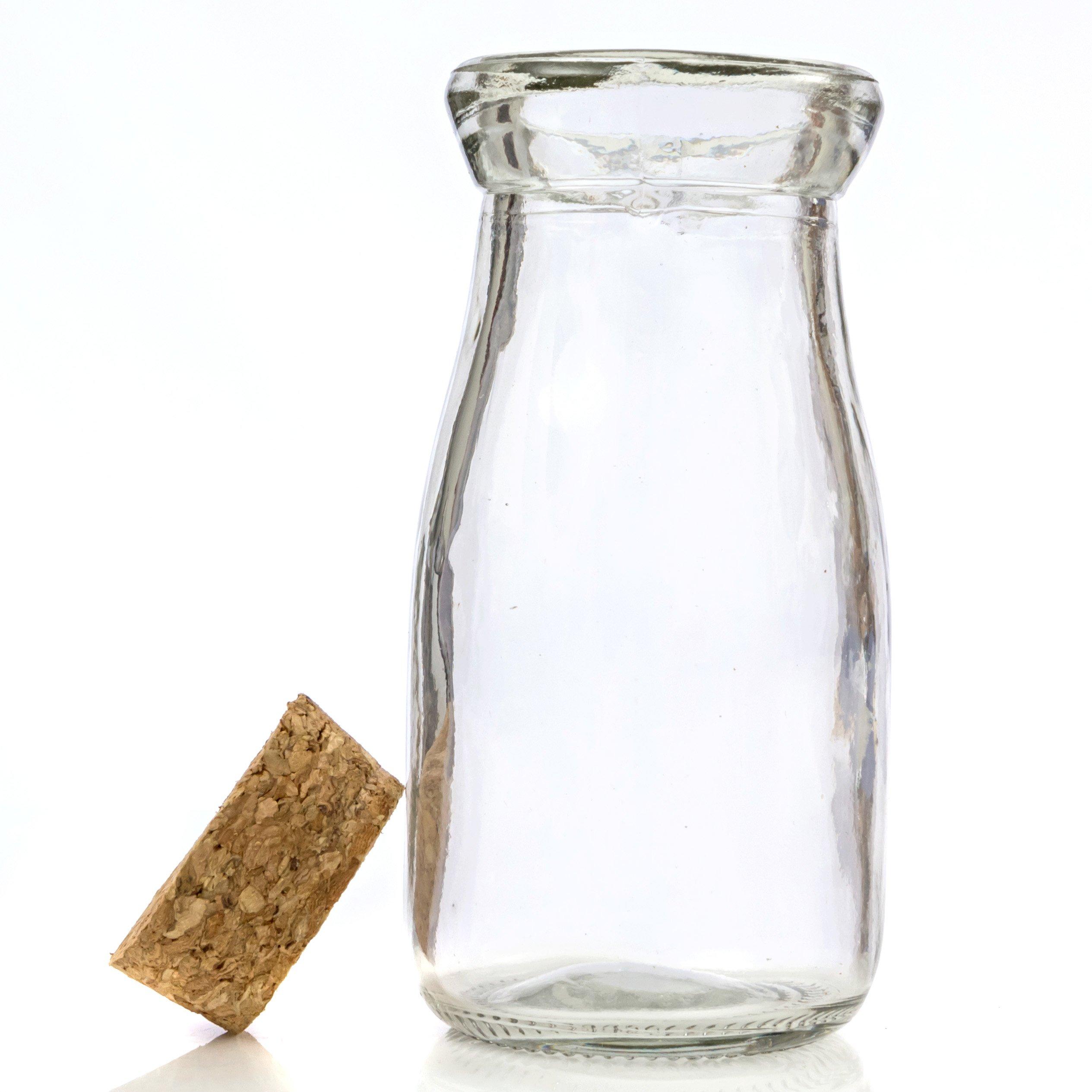 Mini Vintage Glass Milk Bottles with Cork 24 pieces for Favors, Parties