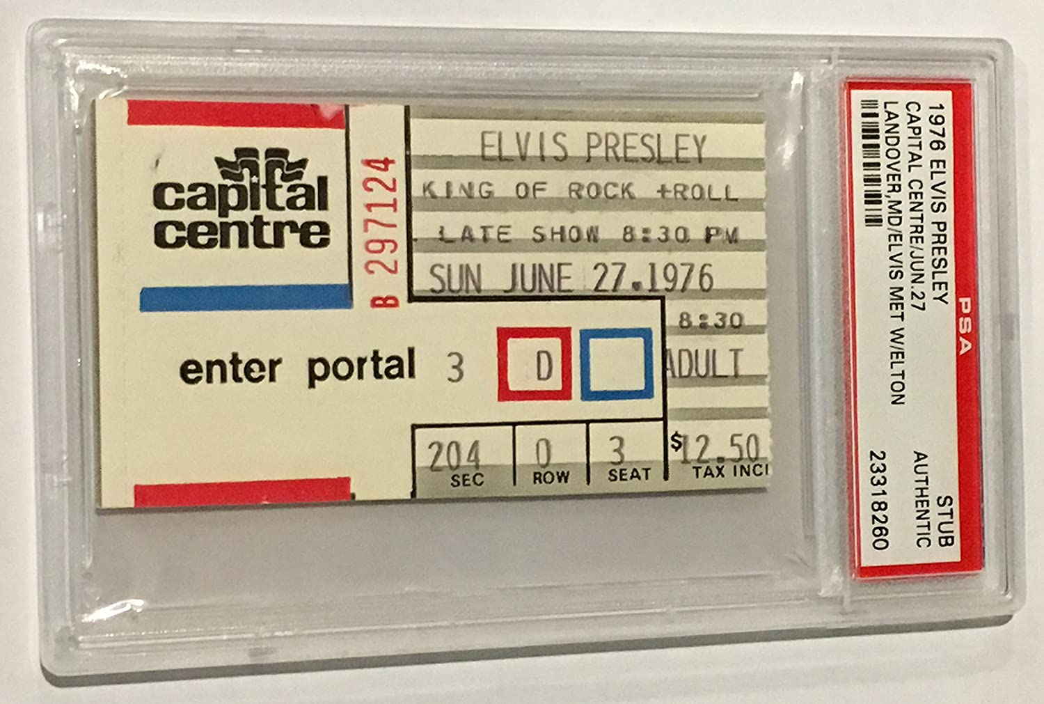 Elvis Presley Landover, MD 6/27/76 PSA Authentic Ticket Stub