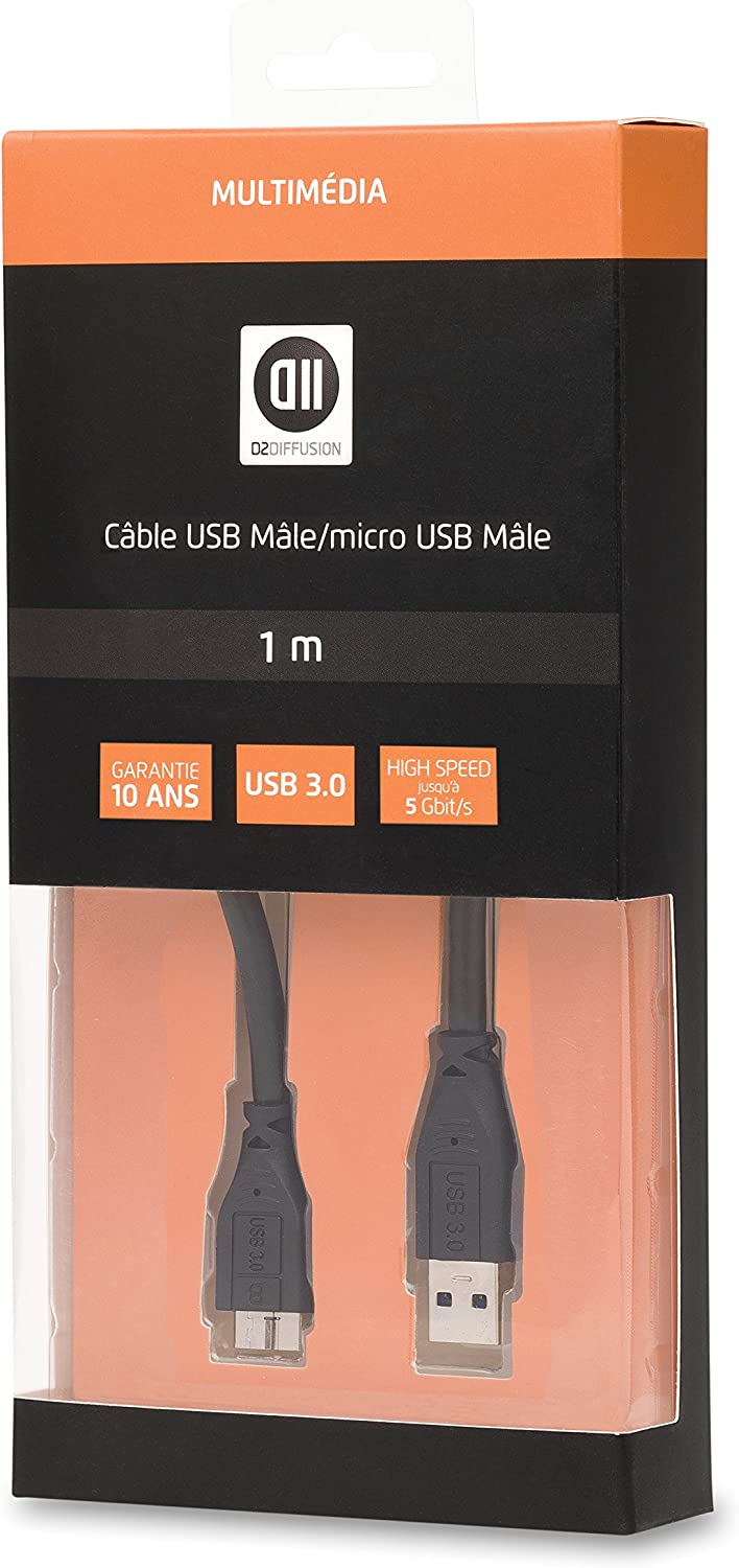 D2 Diffusion d2microusb3100/USB 3.0/Cable Type A Male//Type B Male 1/m Black