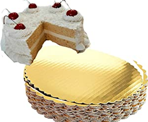Gold Cake Circles 8 inch Cake Board Circle Round Coated Circle Cakeboard GREASE PROOF 100% Food Safe (8