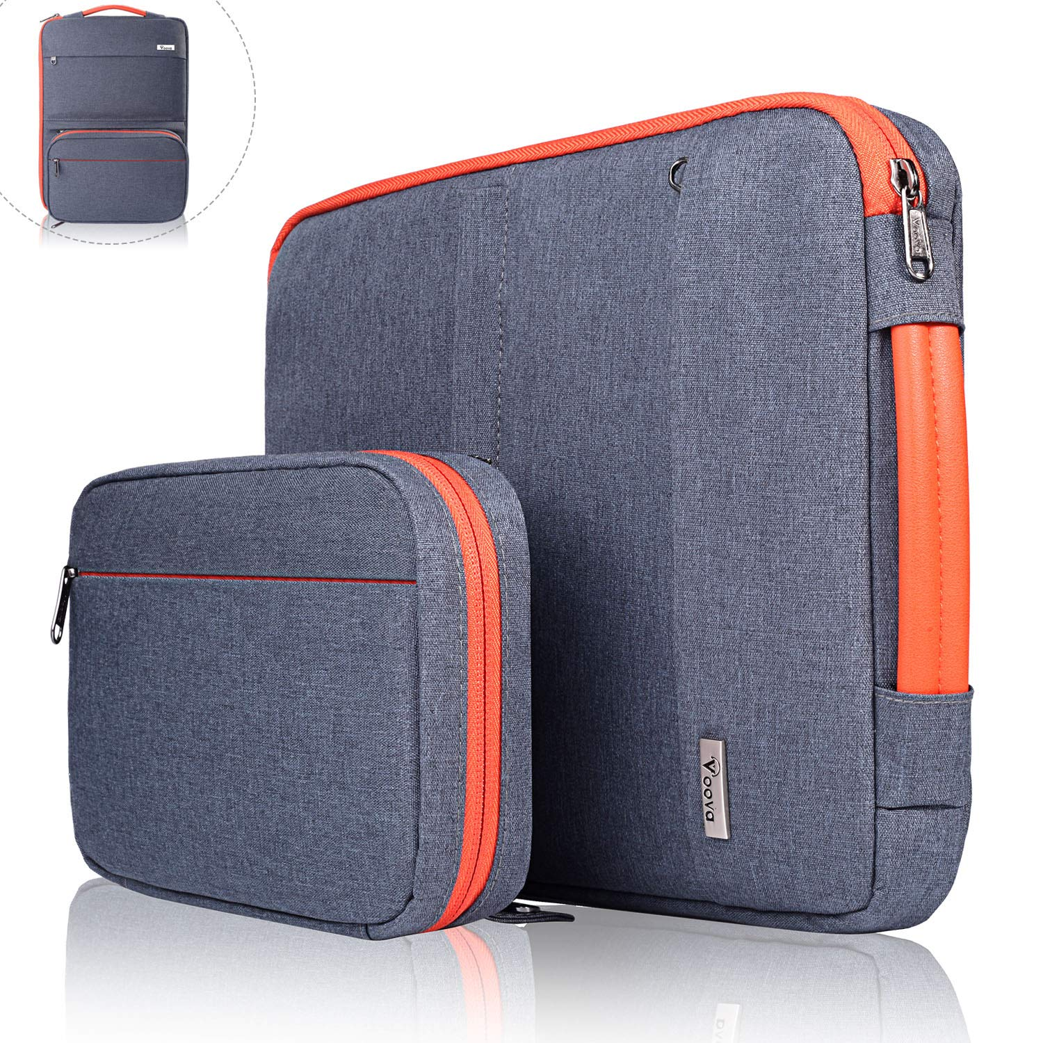 Voova 14-15.6 Inch Laptop Sleeve Bag Cover Special Design Waterproof Computer Protective Carry Case with Detachable Accessory Pocket Compatible with MacBook Pro Retina 15'', HP, Asus, Acer, Dark Gray by Voova