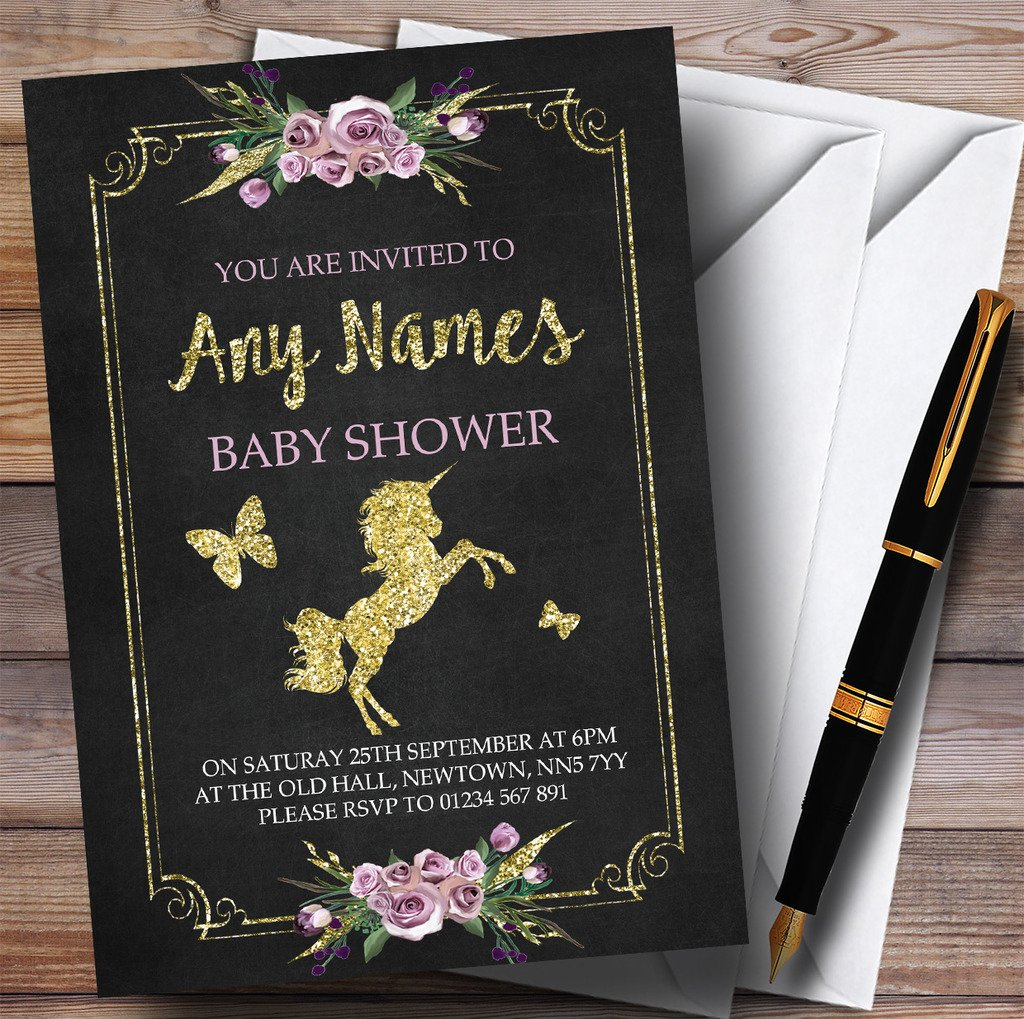 Chalk & Gold Floral Unicorn Invitations Baby Shower Invitations by The Card Zoo (Image #1)