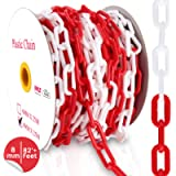 PYLE Safety Barrier Chain Links - 82' Ft Caution Security Chain Link Barriers-Crowd Control, Door/Driveway/Garage Kids…