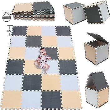 ALGFree Tapis Puzzle en Mousse Puzzle Tapis Mousse Verrouillage Enfants des Gamins Carrelage Scie Sauteuse Tapis Jeu Jouer Exercice Yoga Color : B, Size : 30x30x2.5cm 16pcs 3 Tailles 4 Couleurs
