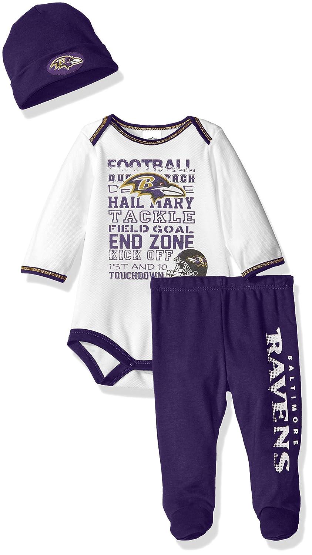 (ガーバーチルドレンズウェア) Gerber Childrenswear NFLボディスーツとパンツと帽子のセット B01M12CBWZ 3-6 Months|ホワイト/パープル|Baltimore Ravens ホワイト/パープル 3-6 Months