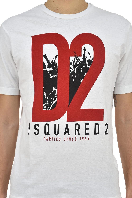 Dsquared DSQ Mens Herren Tee T-Shirt S71GD0485 Weiss Crew-Neck D2 ...