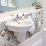 24adesivi adesivi piastrelle | Adesivo Piastrelle–Mosaico Piastrelle a Parete Bagno e Cucina | Piastrelle Adesivo–tradizionali Beige–10x 10cm–24pezzi