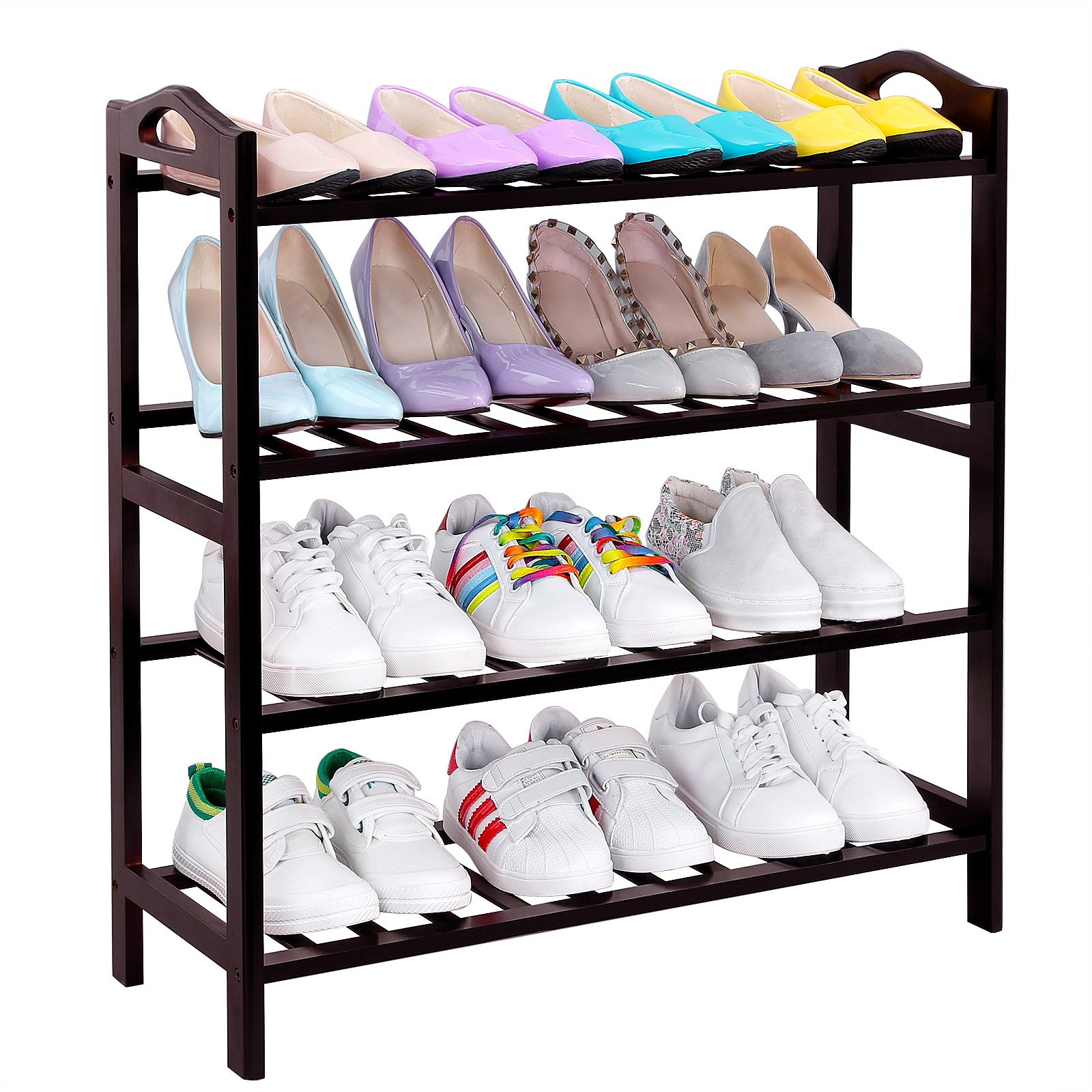 SONGMICS 100% Bamboo 4-Tier Shoe Rack 30 Inch Wide Entryway Shoe Shelf Storage Organizer, 26.6'' L x 10.4'' W x 29.4'' H,Holds Up to 16 Pairs,Ideal for Hallway Bathroom Garden Brown ULBS94Z by SONGMICS (Image #3)