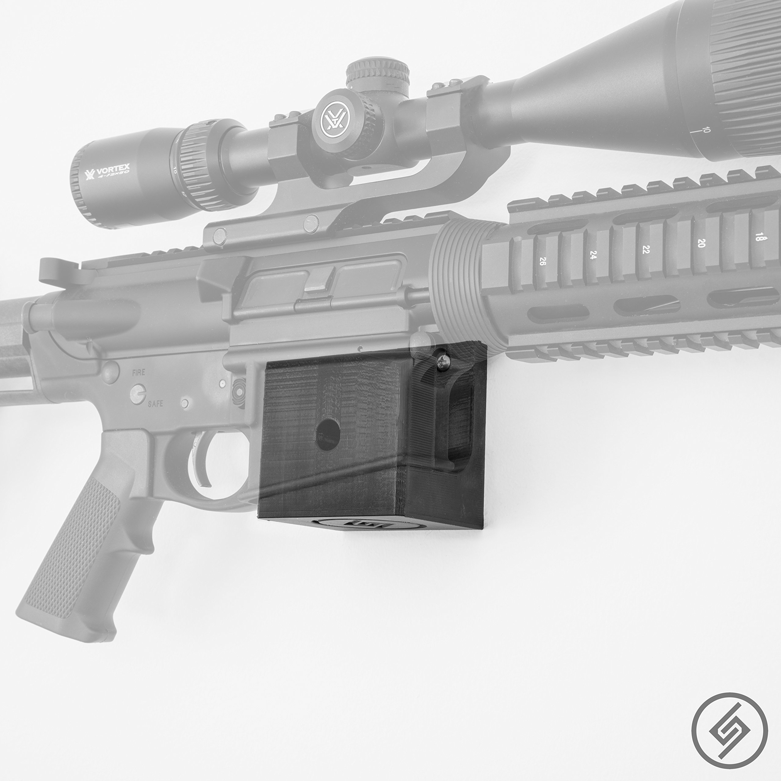 AR-10 Wall Mount | Rifle Display | Wall Storage Organization System | Unique Low Profile Design | Gun Safe Wall Garage | Gun Room Mounting Solution | Spartan Mounts by Spartan Mounts