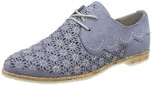 Marco Tozzi 23500, Zapatos de Cordones Oxford para Mujer, Azul (Azure), 38 EU