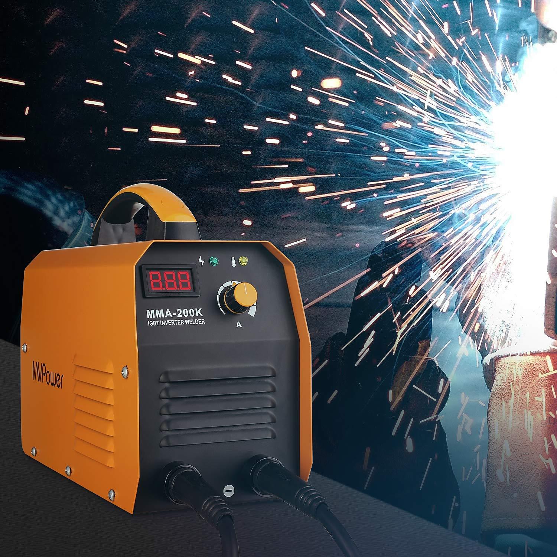 Schwei/ßhelm Inkl MVPower Inverter Schwei/ßger/ät MMA-200K E-Hand Schwei/ßmaschine 200A IGBT Elektroden Drahtb/ürste und Schlackenhammer