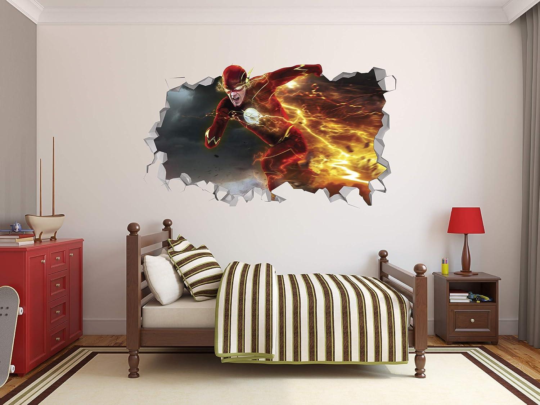 The Flash Wall Decal Decor Sticker Mural Wall Hole 3D Smash Kids Art Vinyl Superheros (22
