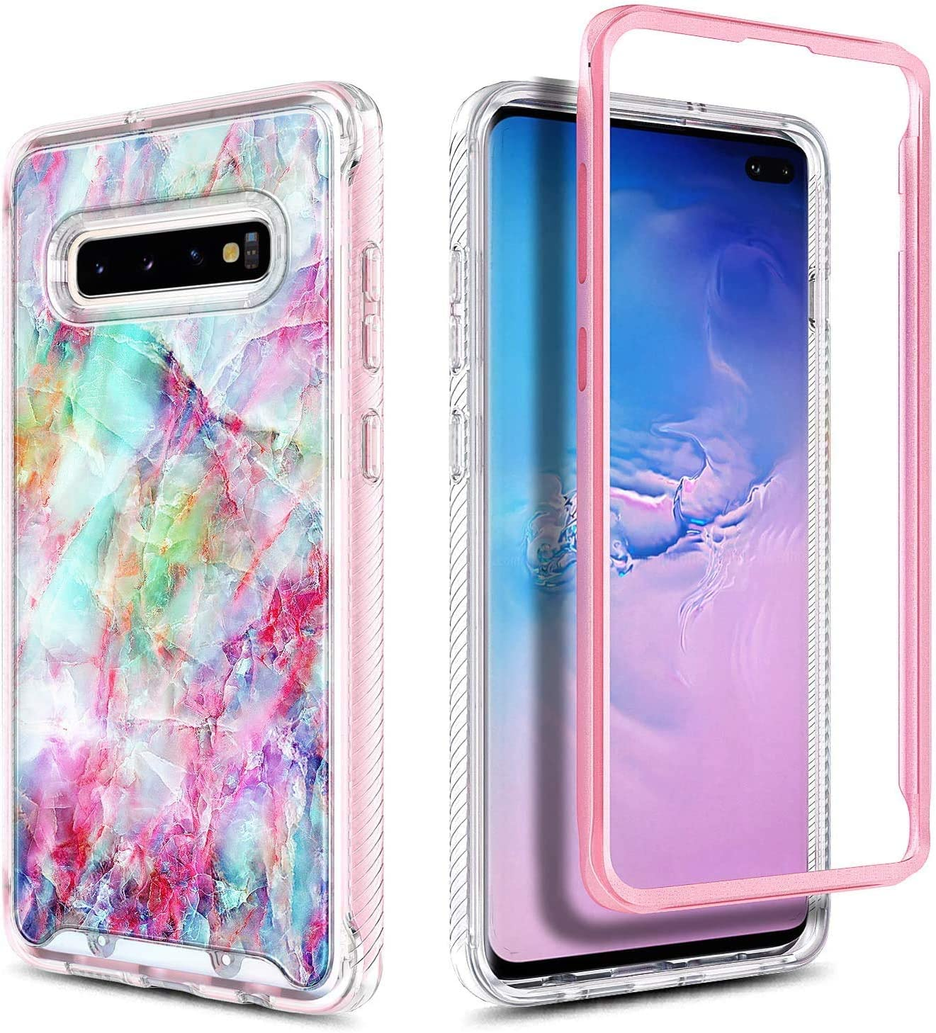 E-Began Case for Samsung Galaxy S10 Support Wireless Charging -Clear Full-Body Protection Rugged Matte Bumper Shockproof Protective Impact Resist Durable Phone Case 6.1 inch 2019 Release