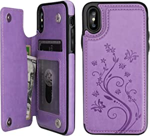 "Vaburs iPhone X Case Wallet with Card Holder, iPhone Xs Embossed Butterfly Premium PU Leather Double Magnetic Buttons Flip Shockproof Protective Case Cover for iPhone X/Xs (5.8"", Purple)"