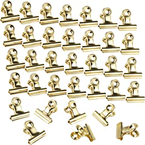 Boao 100 Pieces Bulldog Metal Clips Hinge Clips for Photos, Maps, Drawings, Art Work, Papers, Price Tag, 0.87 Inch (Light Gold)